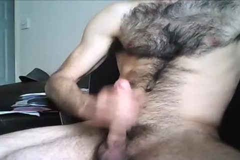 hairy Hung man shoots A large Load