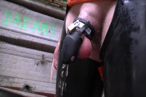 Cb Locked bondman Pissing And Playing With dildo