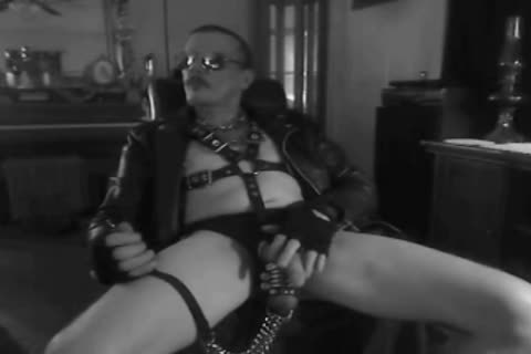 another Horned Up Smoking Ball Stretching Session In My Leather Gear And Boots. With My fastened Up pecker And Stretched Balls On A Leash!!!