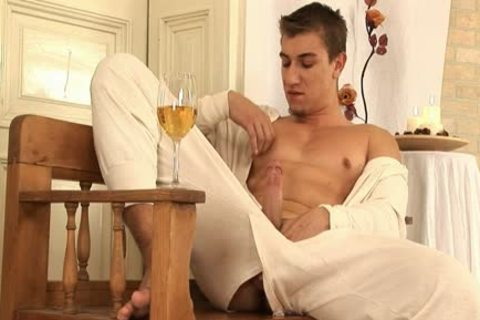 This handsome gay man Comes Home And Drinks Some Wine before His Has A Sensual Self Devotion Session