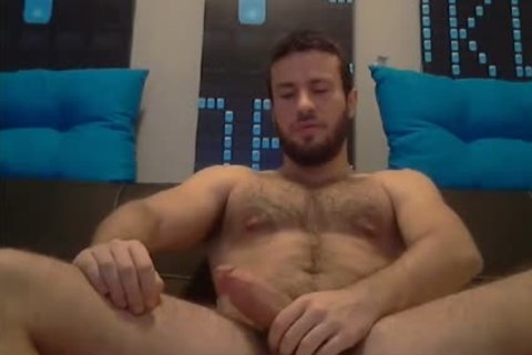hairy muscular guy Stroking On web camera