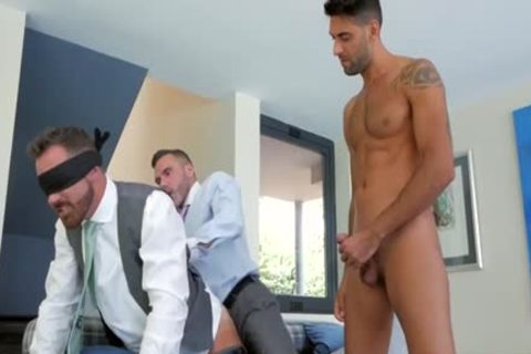 Muscle homosexual trio With cream flow