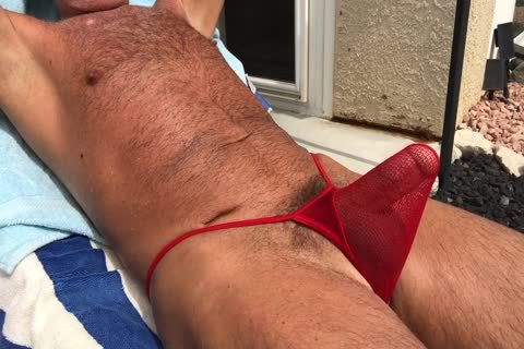 Sunbathing slutty bushy Daddy