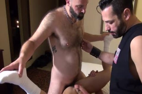 Muscle Bear ass invasion And cumshot